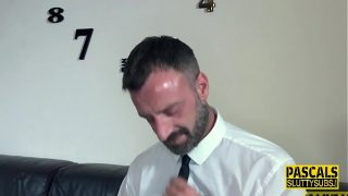Slender fetish submissive deep throats dick